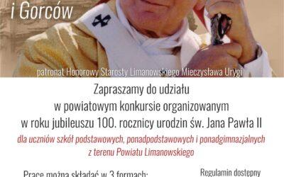 """POWIATOWY KONKURS """"Na papieskich szlakach Beskidów i Gorców"""""""